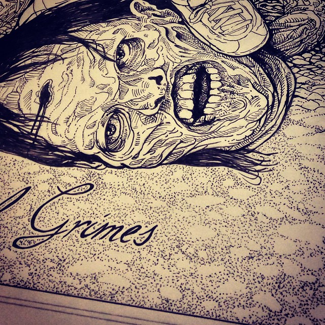 Sneak peak of my piece for the Hero Complex Gallery - The Walking Dead group show. Opening today! It's a very affordable original. #herocomplexgallery #thewalkingdead #amc #penandink