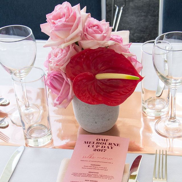 MELBOURNE CUP // table settings in #silks at @ellerslieraces // #melbournecup #eventdesign #eventstyling #tablescape #floraldesign #floralstyling #aucklandevents #nzevents #luxuryevents #redattheraces #reimaginingevents