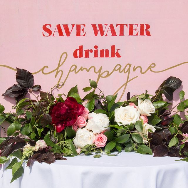 CHAMPAGNE // 🥂 custom signage for the #gardenparty at @ellerslieraces // #savewaterdrinkchampagne #eventsignage #melbournecup #eventdesign #redattheraces #eventstyling #paintthetownred #reimaginingevents