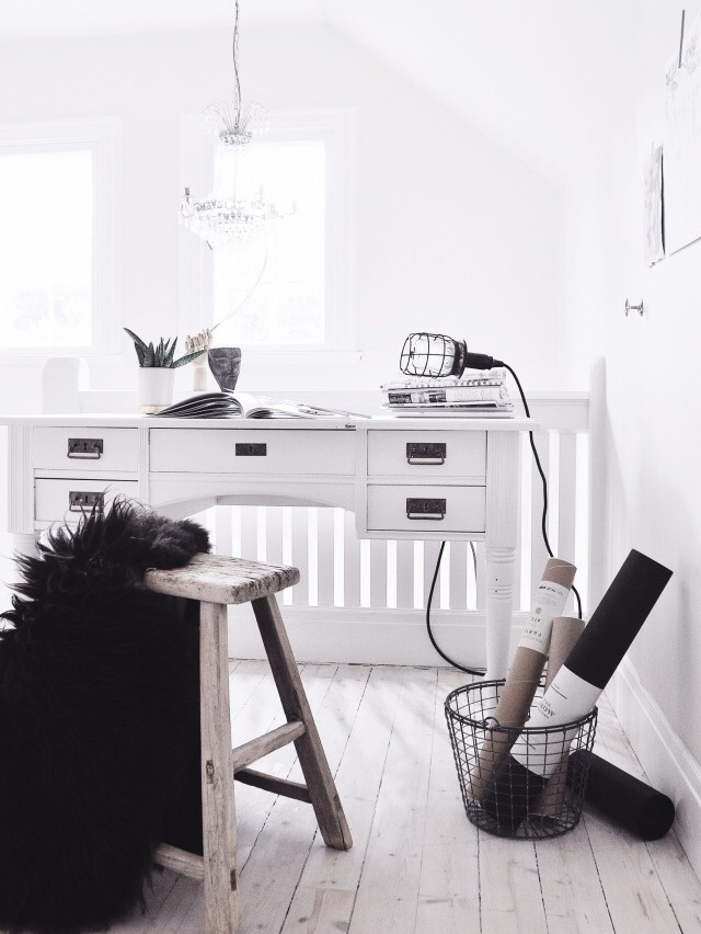 Bright white study with rustic stool, fur and wire details.