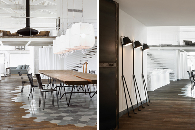 worn timber flooring with merged checkerboard grey tiling, raw timber table and open rooms with industrial details