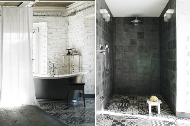 Grey morroccan floor tiles with antique grey and white free standing bath with sheer curtain. Morroccan grey floor tiles with complimenting grey concrete tiled shower recess.