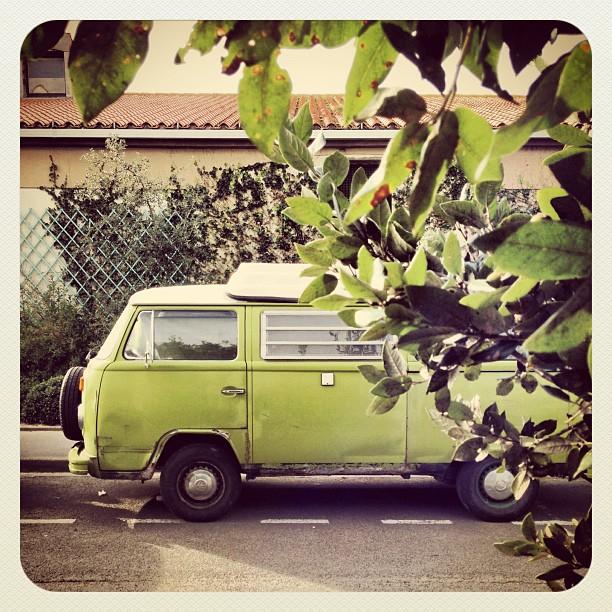 #Green #car #van #vw #lessablesdolonnes #volkswagen