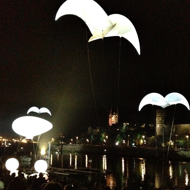 À tire-d'ailes dans la nuit angevine #gonflé #helium #accrochecœurs #angers #nord #north #heureangevine (Pris avec Instagram à Le Quai)