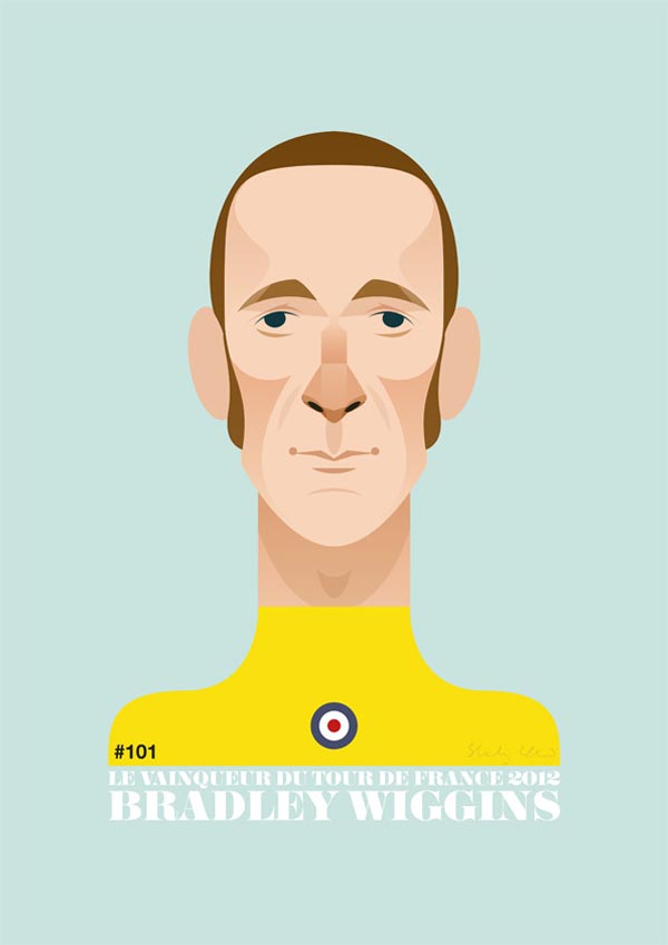 2012 Tour de France champion and olympic time trial winner: Bradley Wiggins, illustrated by  Stanley Chow .     Il est pas beau le vainqueur du Tour ?