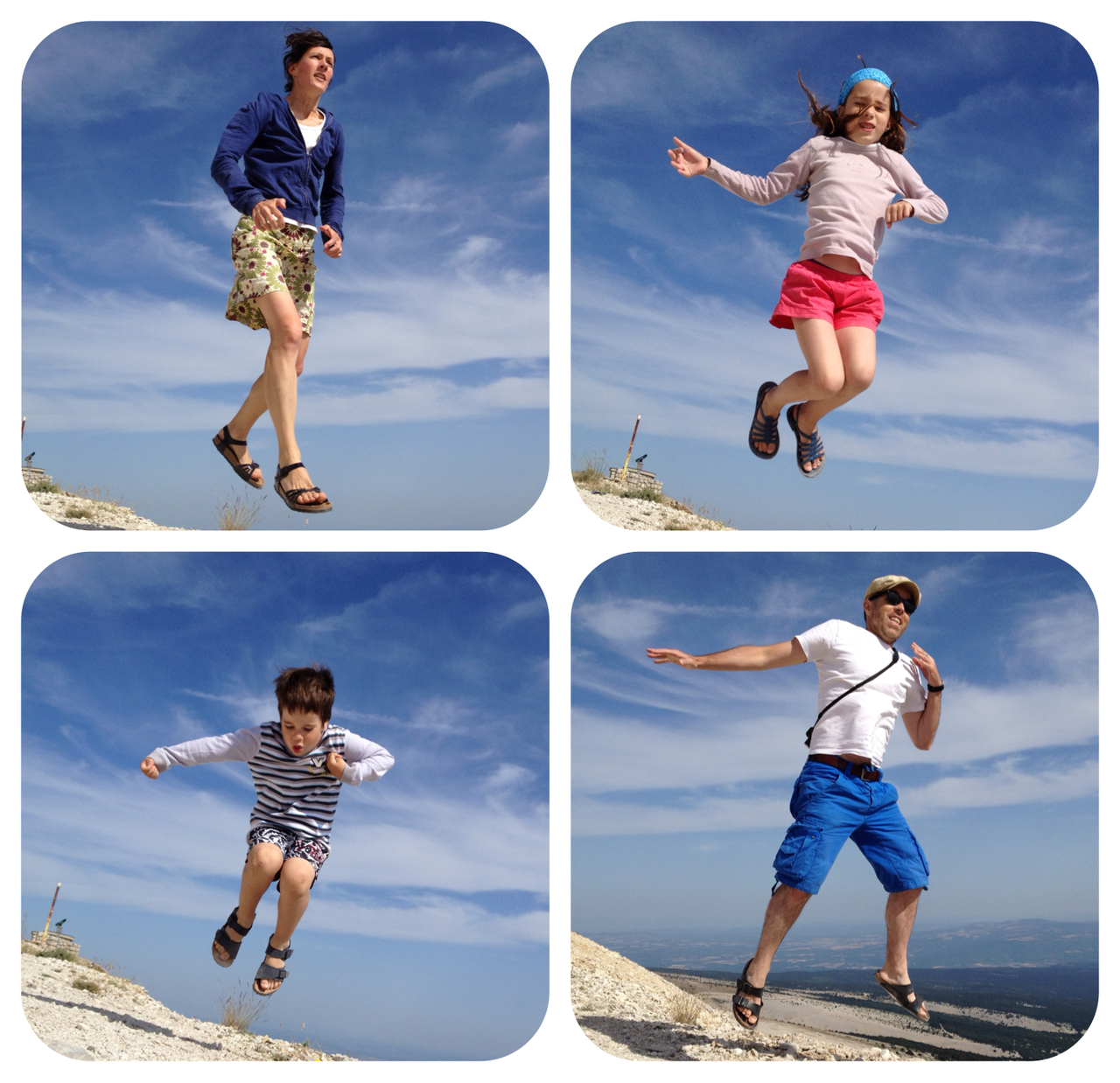 Lévitation familiale sur le Mont Ventoux. Un sommet de la légende du Tour qui donne des ailes aux meilleurs grimpeurs.