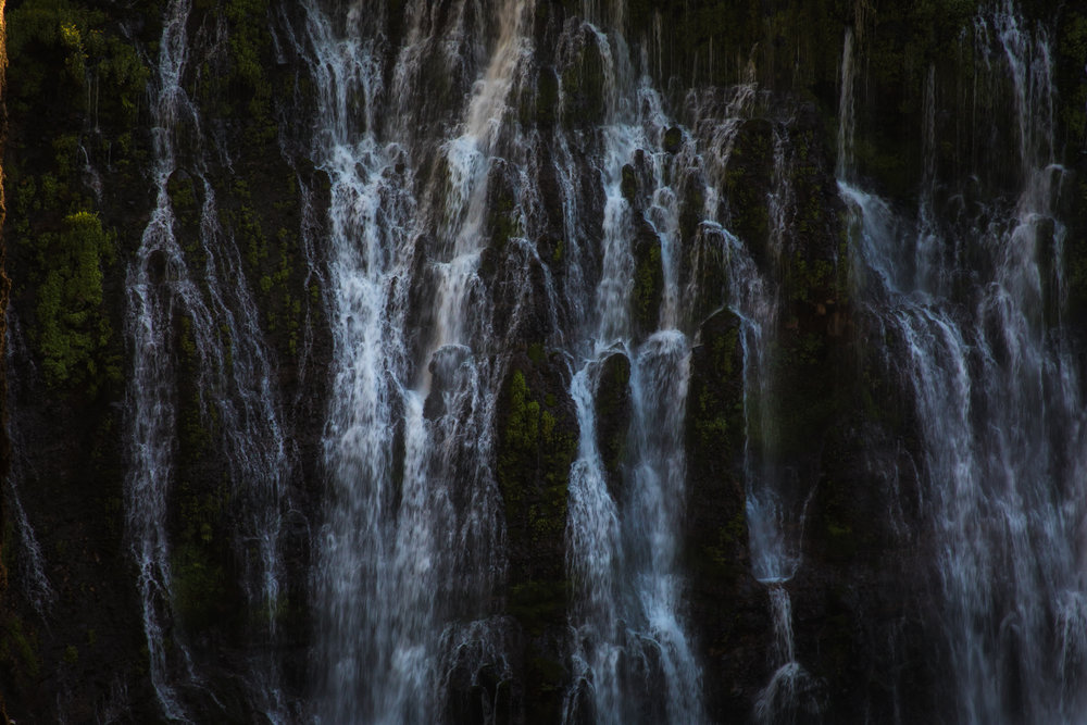 Burney Falls detail. Beautiful fall, big wooded popular campground and it had showers - and nice too :-).