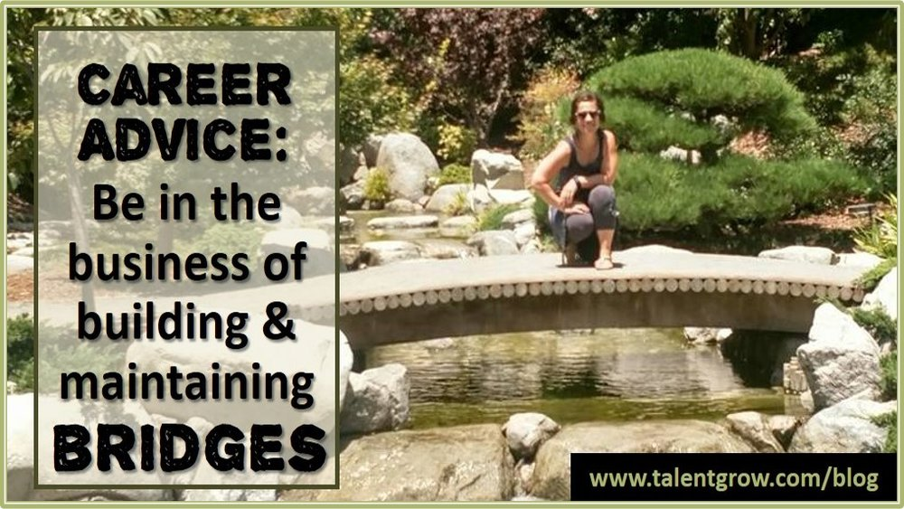 TalentGrow blog post Career advice be in the business of building and maintaining bridges by Halelly Azulay