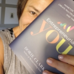 Halelly Azulay (that's me) excited to read Entrepreneurial You by Dorie Clark ahead of the release of the podcast episode!