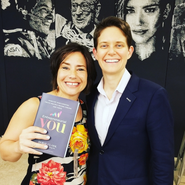 Halelly Azulay and Dorie Clark at the Los Angeles book launch of Entrepreneurial You on October 17, 2017
