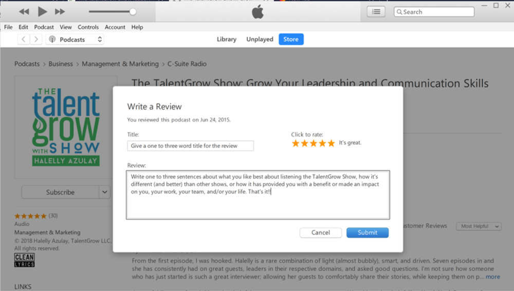 how to rate and review The TalentGrow Show in Apple Podcasts / iTunes review language suggestion