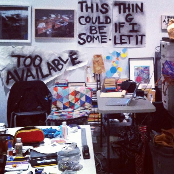 Dawn Kasper's nomadic studio at the Biennial. (Taken with  instagram )