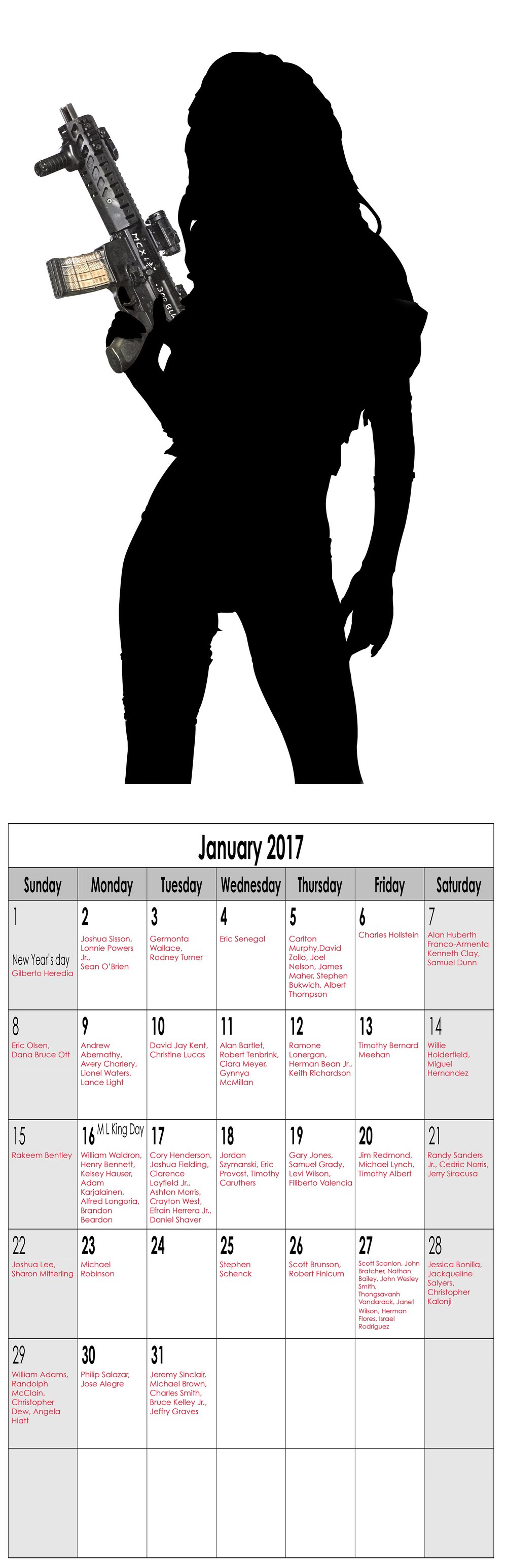 "Year in Review (Miss January), 2016, Archival Pigment Print, 11""x34"""