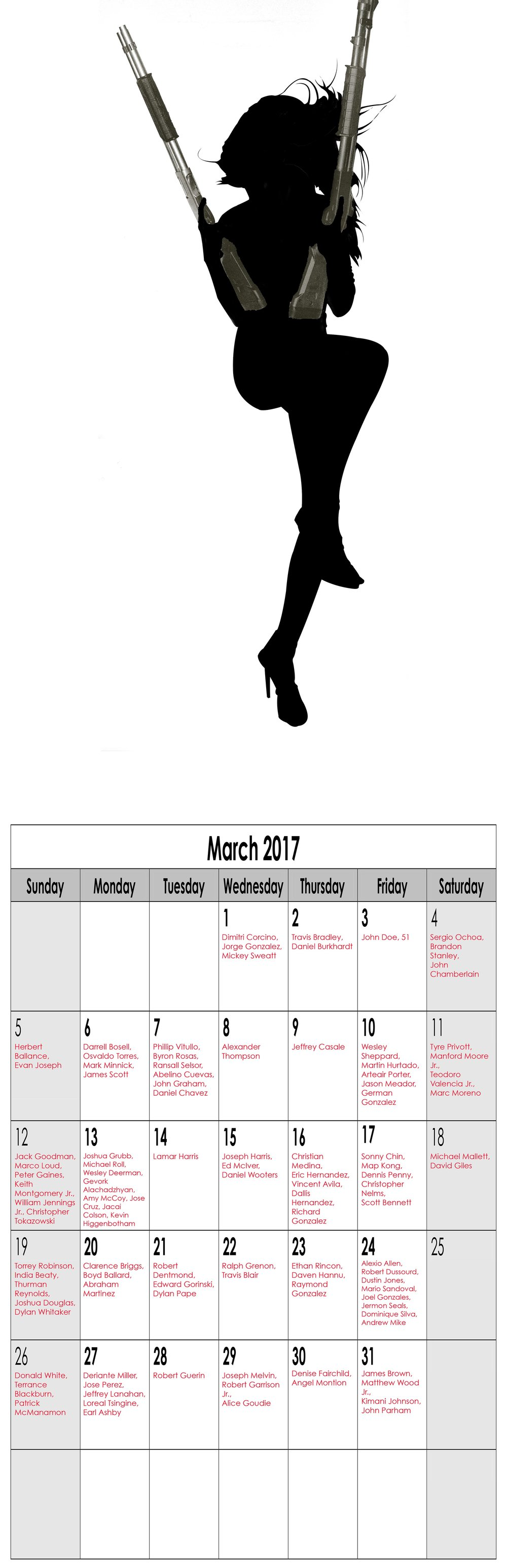 "Year in Review (Miss March), 2016, Archival Pigment Print, 11""x34"""