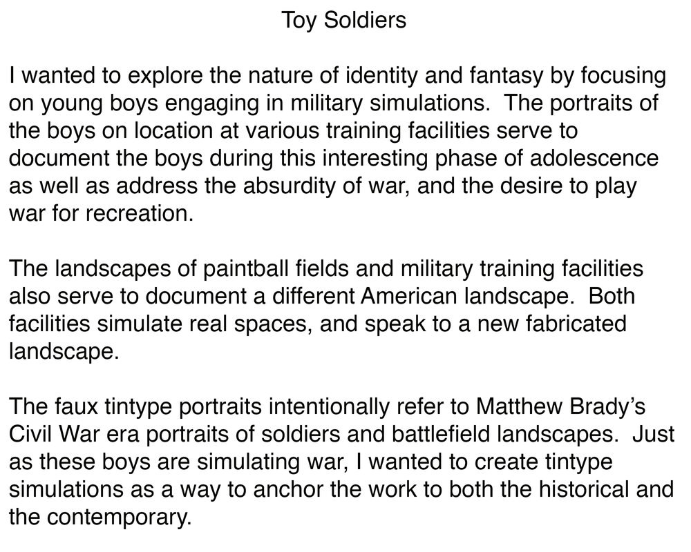 Toy Soldiers Artist Statement