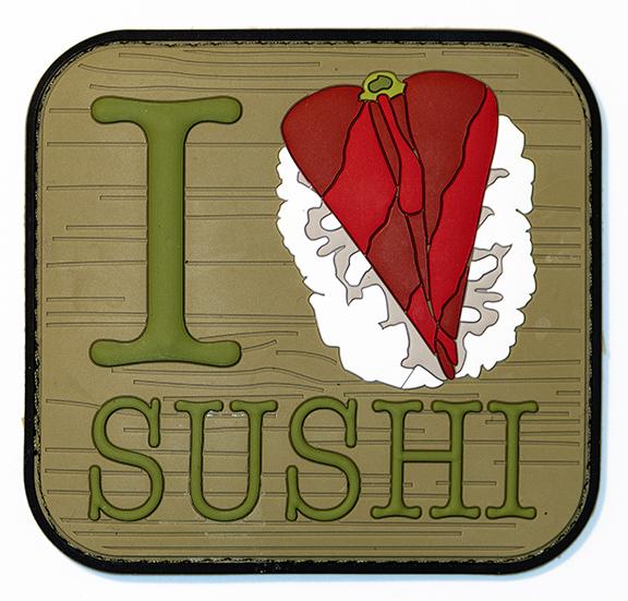 "I Love Sushi, 2019, Archival Pigment Print, 22"" x 23"""