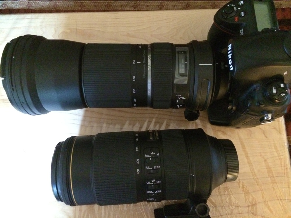 Comparison between the Tamron mounted, and Nikon 80-400mm
