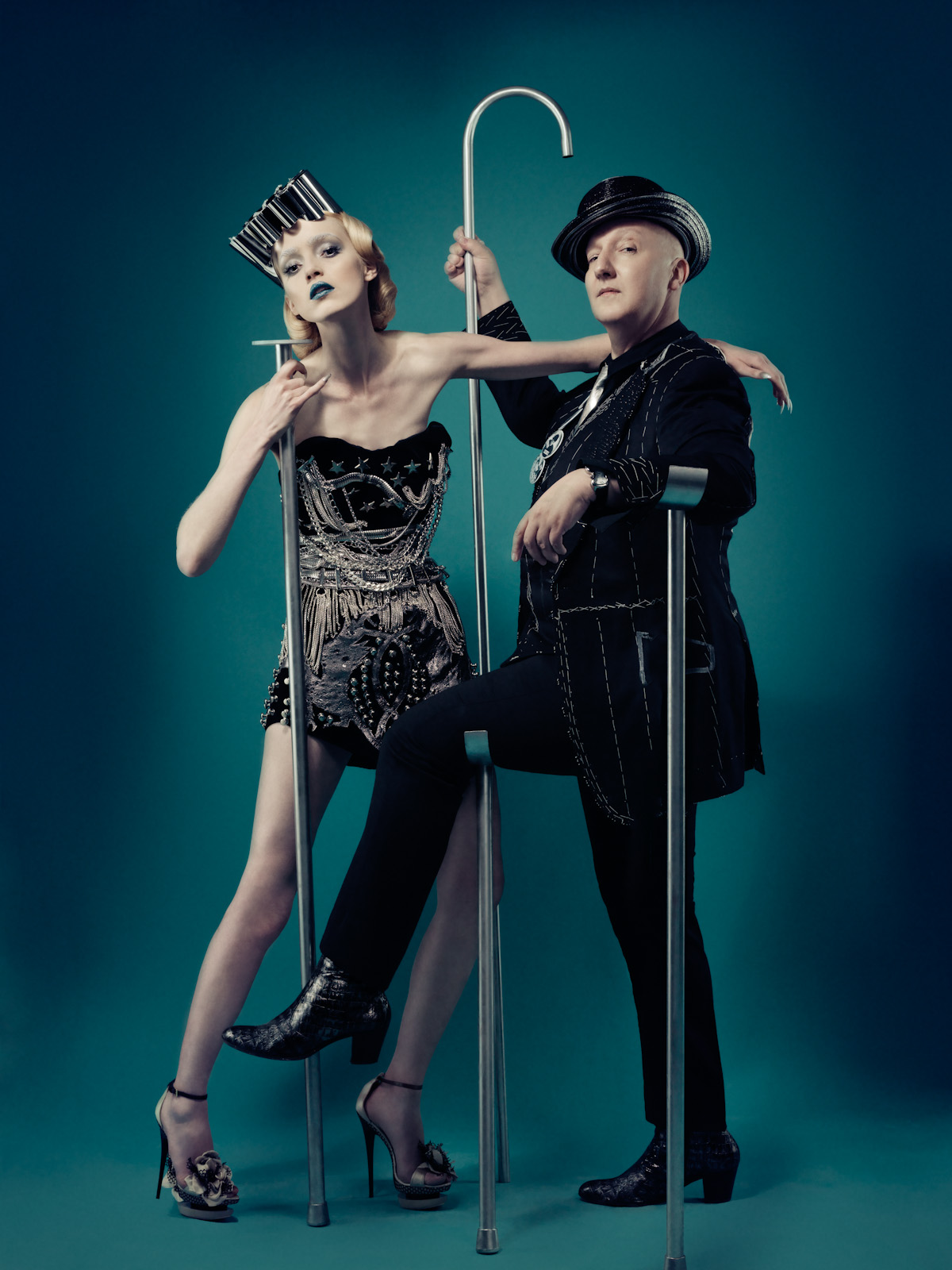 The fabulous Milliner Stephen Jones and his Model / Muse. I always have fond memories looking at this picture . He is such a great guy, and I loved working with him on this shoot. A creative mind, and he keeps pushing the boundaries . Love xx