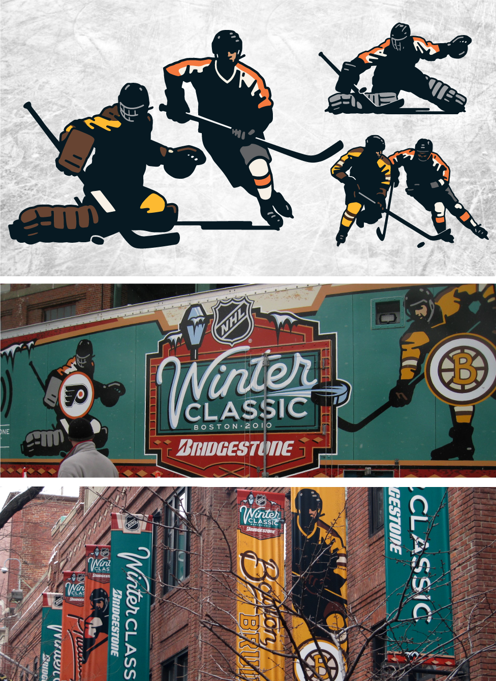Vintage Player Art at the 2010 Winter Classic in Boston.