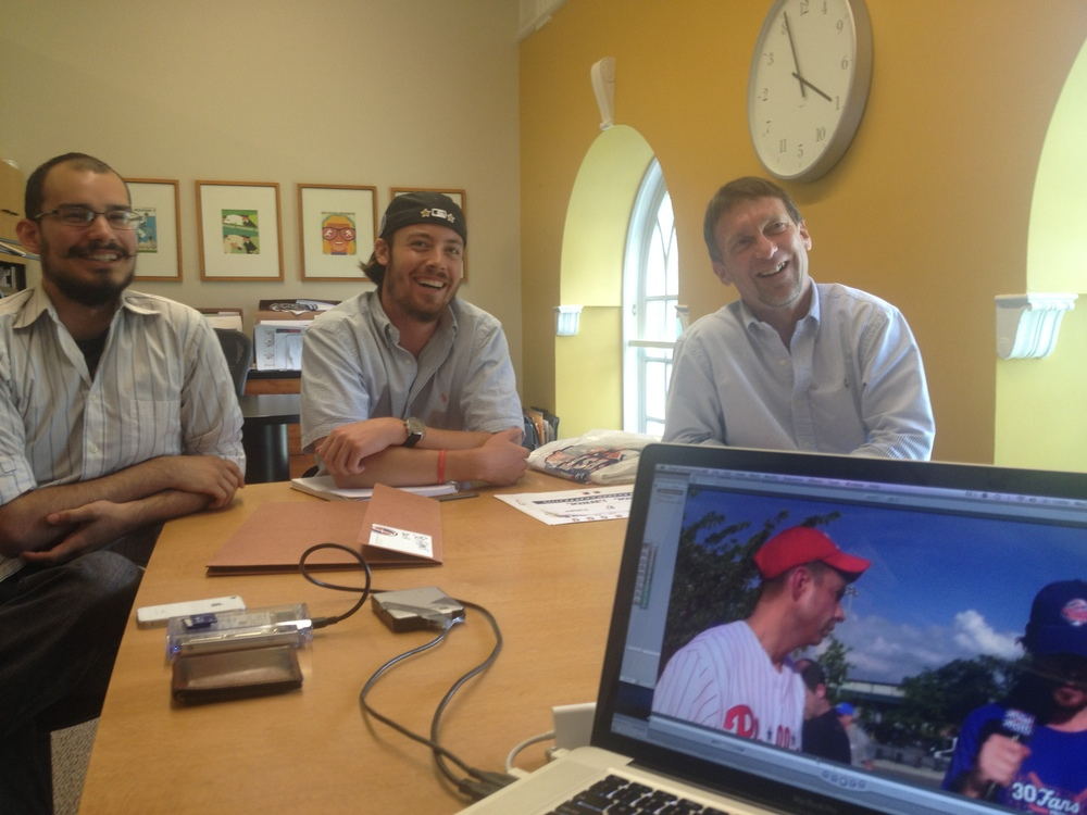 Mike, Adam and Bill screen interviews for final audio edits.