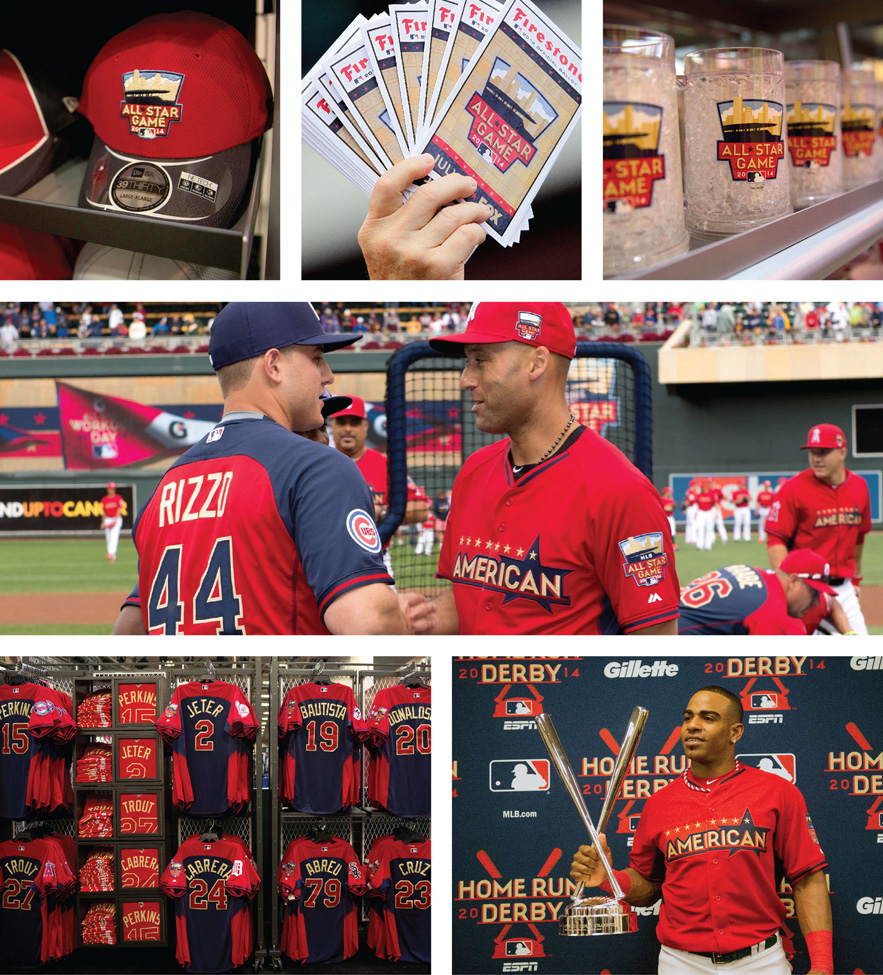 Various uses of the All-Star program seen at FanFest and the Home Run Derby.