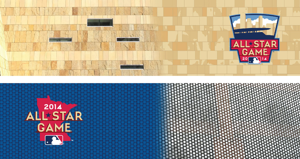 Where theme art gets its start. Above: Target Field's limestone facade, Below: the metal curtain near the concourse.