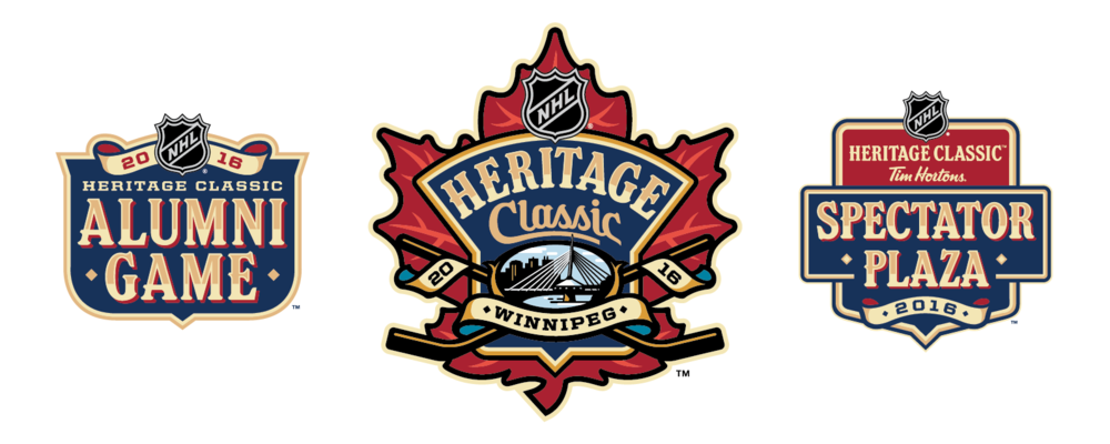 The three primary logos of this event: Heritage Classic, Alumni Game, and Spectator Plaza.