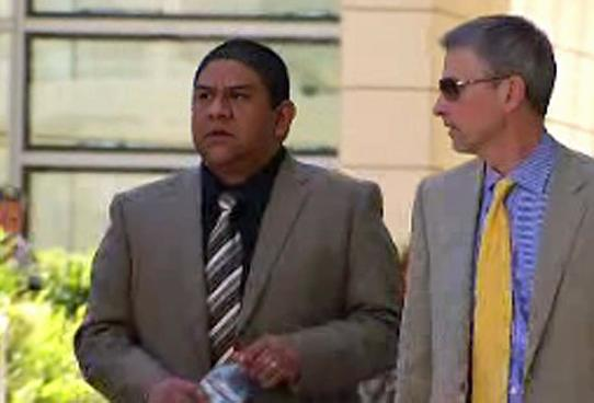 Luis Fonseca (L) along with Attorney, Stuart Adams (R), after being acquitted of abuse charges in San Diego.