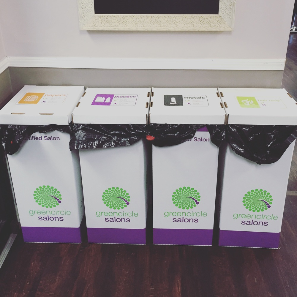 Our new Green circle recycling bins! Hair, paper, metal, plastics, & leftover chemical are all taken!
