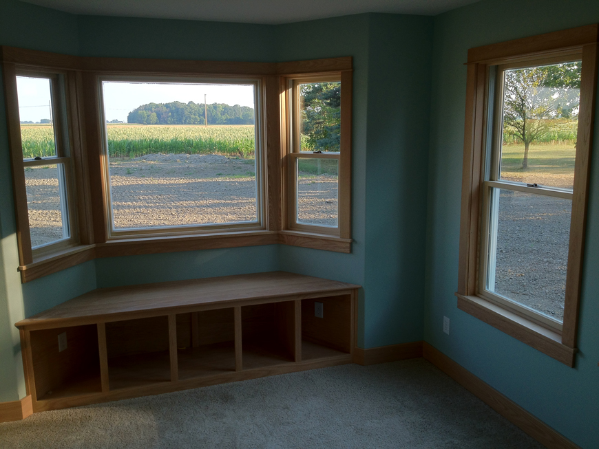 Window seating and storage.