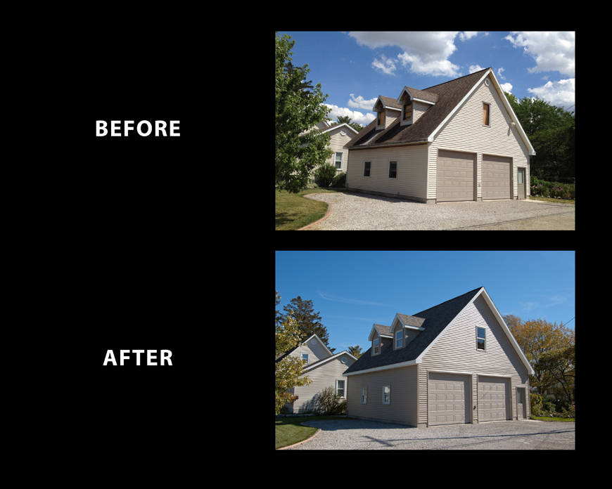 Restore detached garage after a fire. First floor of garage was saved but the second floor and trusses had to be completely replaced. Included new siding, windows and shingles.