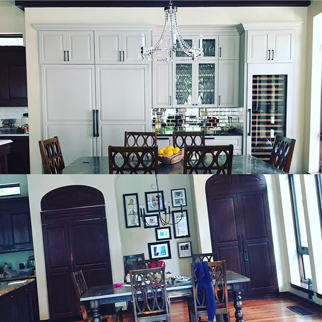 """Big transformation.  I got the privilege to take this already awesome kitchen to another level.  Eliminated a 48"""" built in fridge to two 36"""" side by sides for this #familyof5  and #gourmetmommy , an ice maker and full size wine (of course!). A fantastic kitchen for one of my favorite family's... #friendswhoareclients #ilovemyjob #thisisonlyhalf #fridgegoals #youshouldseetheotherside @ashleynortonhardware @subzeroandwolf #wsd #interiors #interiordesign"""