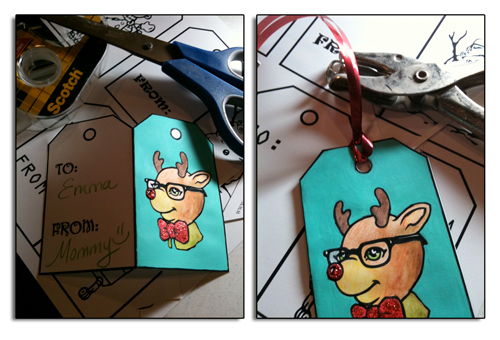 Click here for the printable gift tags. Zombies, Robots, Imperial Stormtrooper snowmen, and a geeky reindeer.