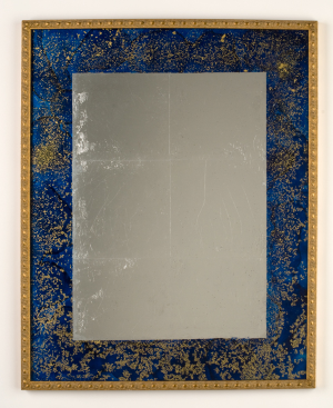 "Faux Lapis Mirror  17"" x 21""  tinted varnish, 22 karat gold and gilders silver"