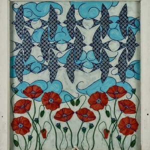 Swallows and Poppies  click to view entire piece