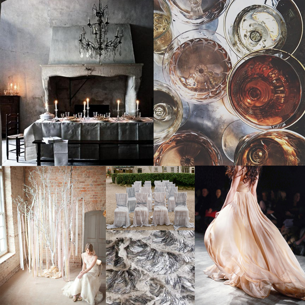 Photo Credits: Dinner Party,  Filled Glasses ,  Leanne Marshall ,  Fabric Chairs ,  Silver Detail ,  Fabric wrapped Tree