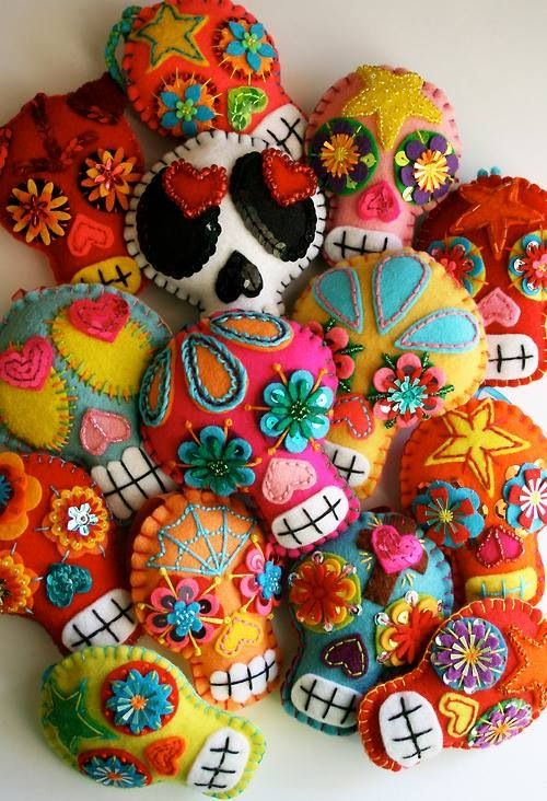 embroidered skulls by Alex Covarrubias