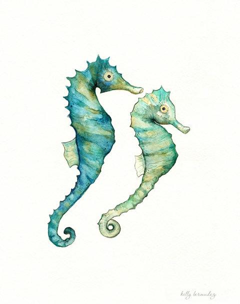 watercolor seahorses by Kelly Bermudez
