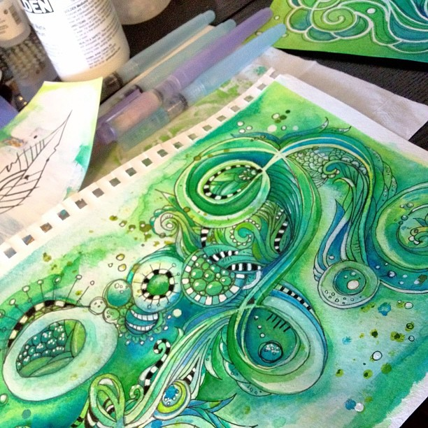 zentangle watercolor art by Jenn Olson