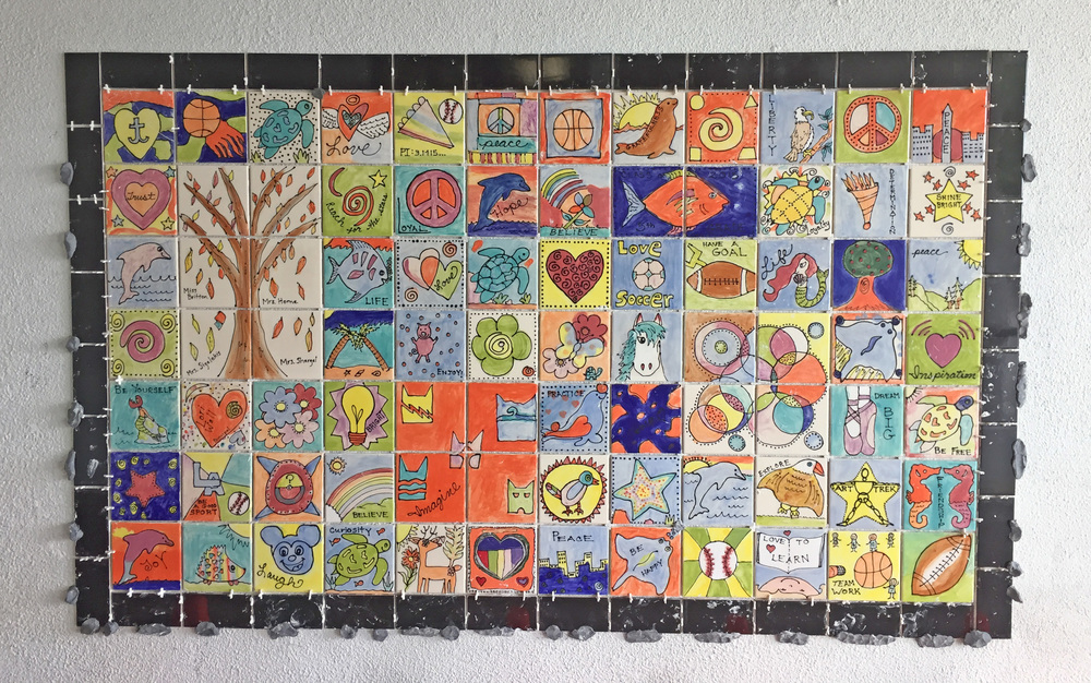 The Ladera Elementary 2015 - 5th Grade Class Character Wall is up and ready to be grouted!
