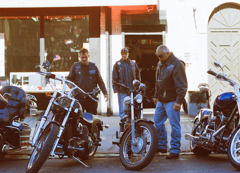 McCoy, Eliseo, Clark, in front of Pote's Custom Cycles, 2011