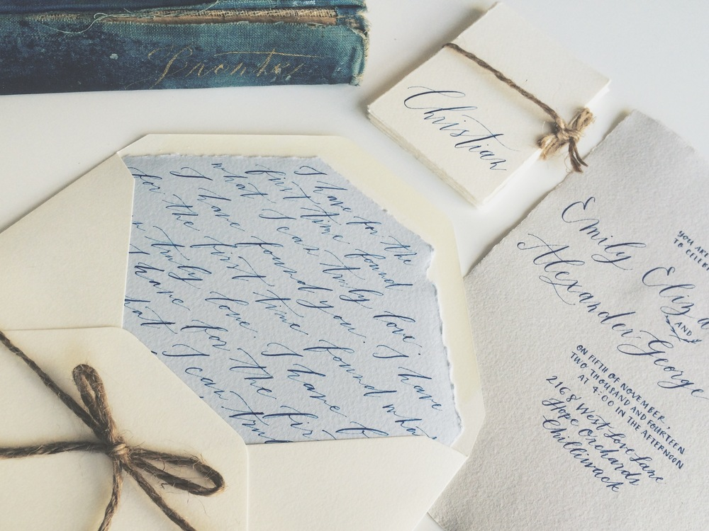 Something for the literary couples, this was made for an elopement shoot to echo pale blue hues and gold tones. Gouache paint. Calligraphy and photo by  Fox and Flourish . All handmade paper from Paper-Ya.