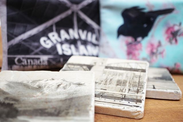 Coasters, bags, and books by Vancouver's own @studioheather! Come down and check out her incredible photography and art! #local #shoplocalvancouver #supportlocal #vancouver #paperya #granvilleisland #gifting #art #decor
