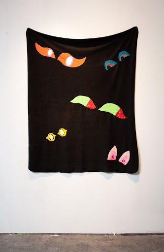 Erin Drew, Discomfort Blanket 2009, applique on found blanket, approx 58 x 45""