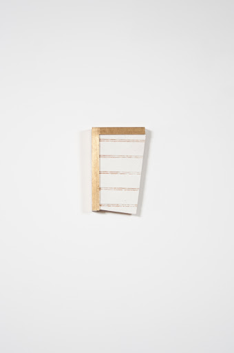 Justyn Hegreberg, trinket (gold, white, wood) 2011, house paint, plywood and frame, 8 x 5""