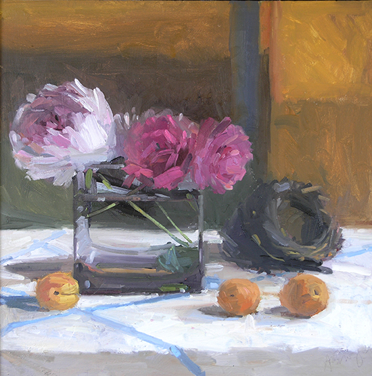 Still Life with Peonies, Nest, and Nectarines