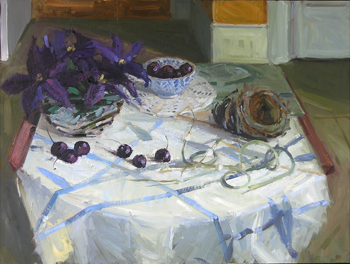 Summer Still Life with Clematis, Cherries, Scapes, and Nest