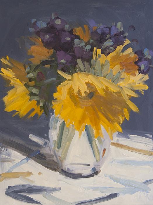 Sunflowers and Purple Mums