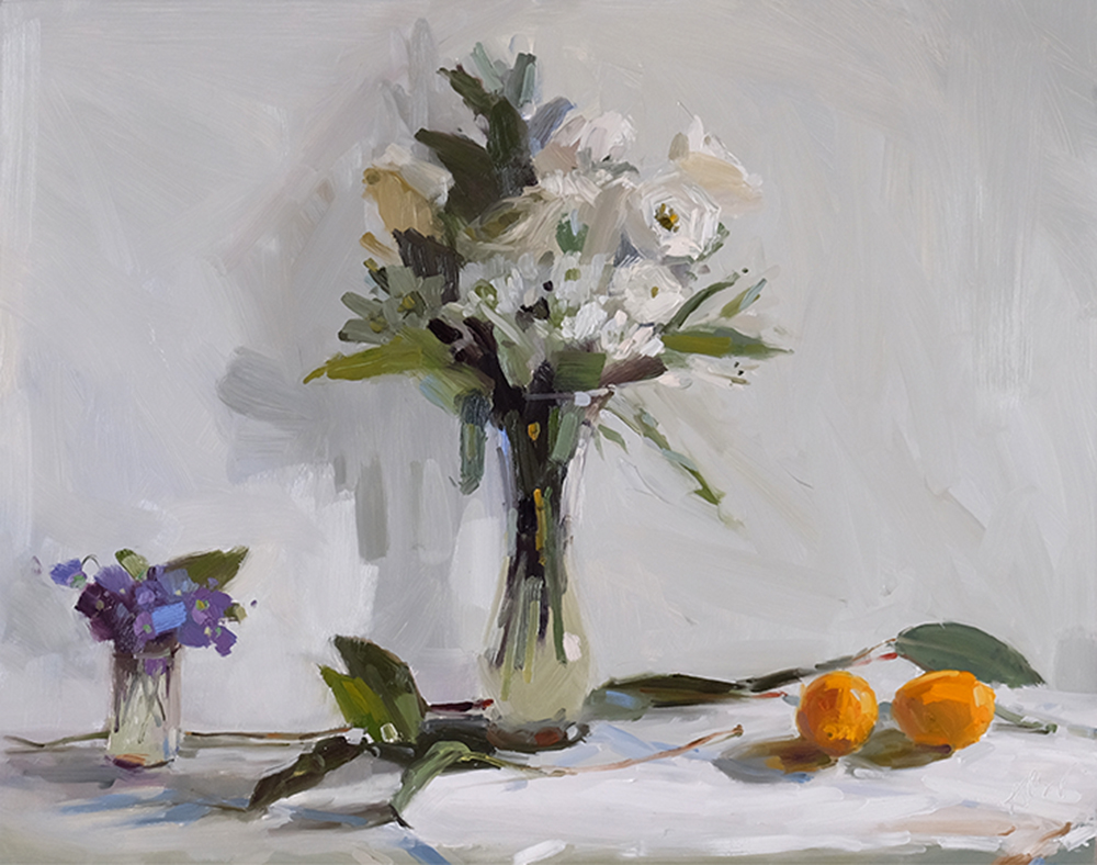 White Bouquet with Violets and Meyer Lemons