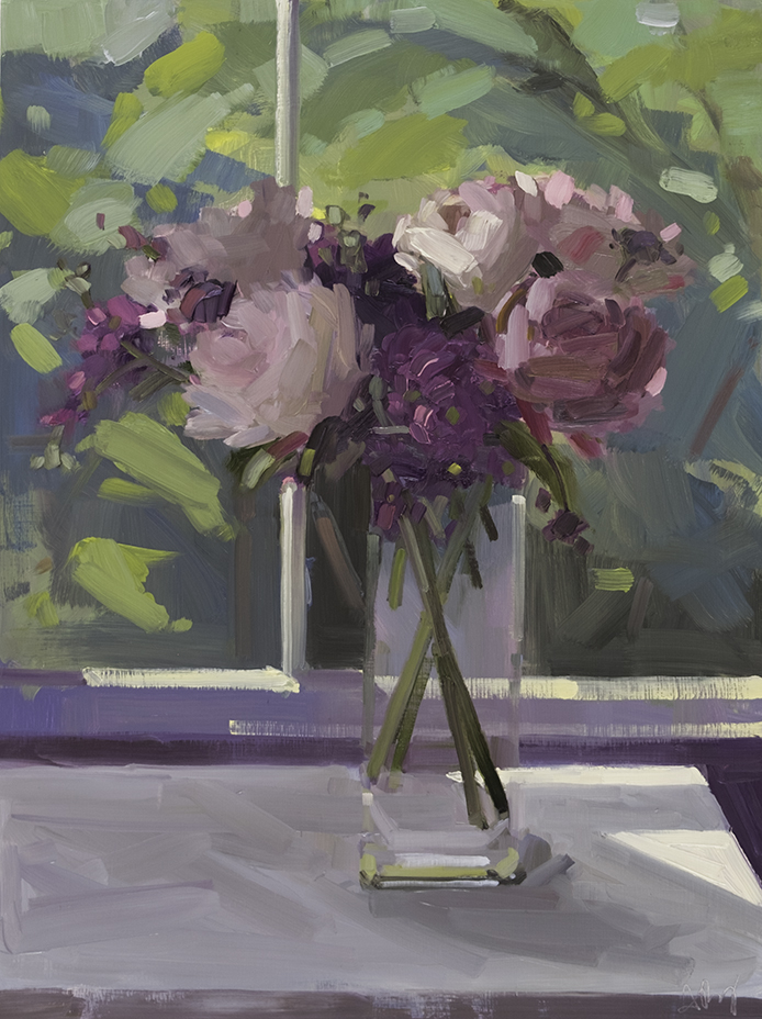 Peonies and Staff, Summer Window